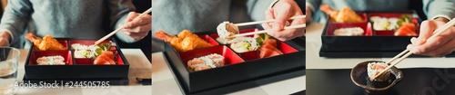 Photo Sushi Japanese food bento box
