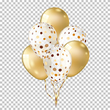White With Gold Balloons Isola...