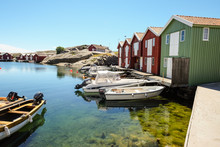 Little Colorful Boat Houses At Smögen At Westcoast Sweden