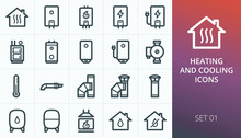 Home Heating System Icons Set....
