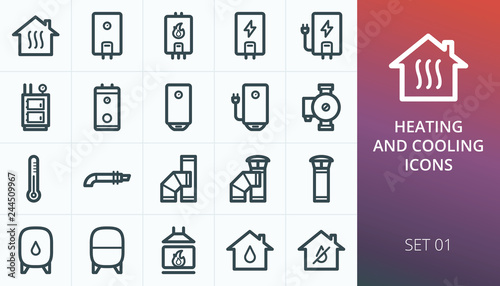 Fotografía  Home heating system icons set