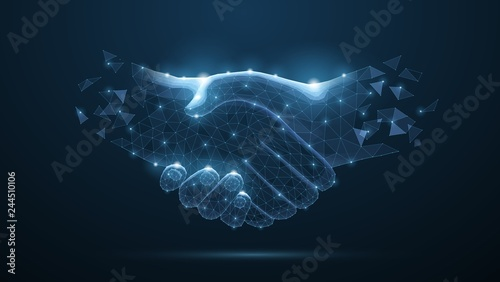 Abstract handshake on blue vector illustration or background Wallpaper Mural