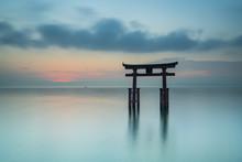 Gate Of The Shirahige Shrine On Biwa Lake