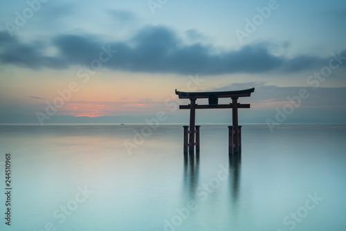 Fotografie, Obraz Gate of the Shirahige shrine on Biwa lake