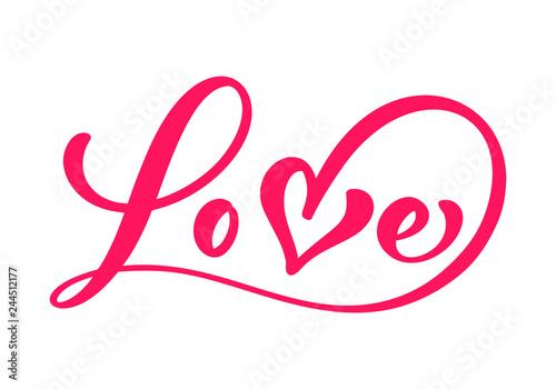 Fototapeta Red Calligraphy word Love