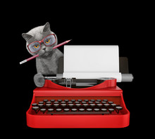 Cute Cat Is Typing On A Typewriter Keyboard. Isolated On Black