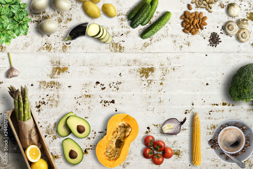 Fototapety, obrazy: many cooking ingredients on solid background