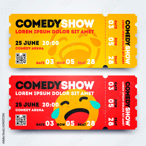 Fotografija  Vector Illustration Stand Up Comedy Event Show Entry Ticket Template Set