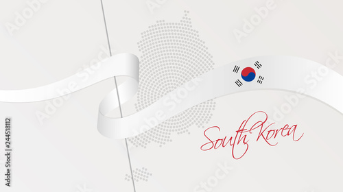 Fotografía  Wavy national flag and radial dotted halftone map of South Korea