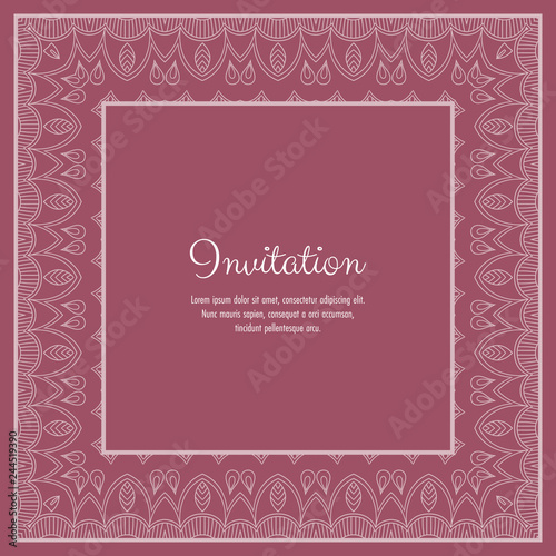 Fotografía  Abstract ornamental lace frame for greeting card or invitation