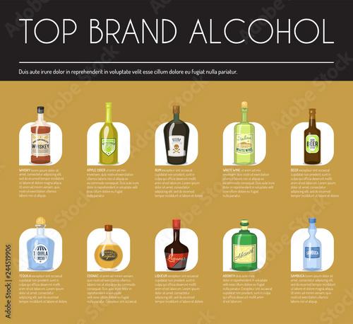 Alccohol Wine List Template For Bar Or Restaurant Menu Design Vector