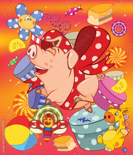 Foto op Plexiglas Babykamer I Vector llustration of a Cute Pig. Cartoon Character