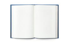 Blank Open Book Isolated, Top Front View. Blue Hardcover With Black