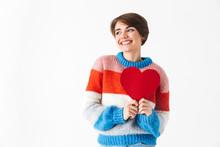 Happy Cheerful Girl Wearing Sweater Standing