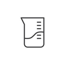 Laboratory Measuring Cup Line Icon. Linear Style Sign For Mobile Concept And Web Design. Test Tube Glassware Outline Vector Icon. Symbol, Logo Illustration. Pixel Perfect Vector Graphics