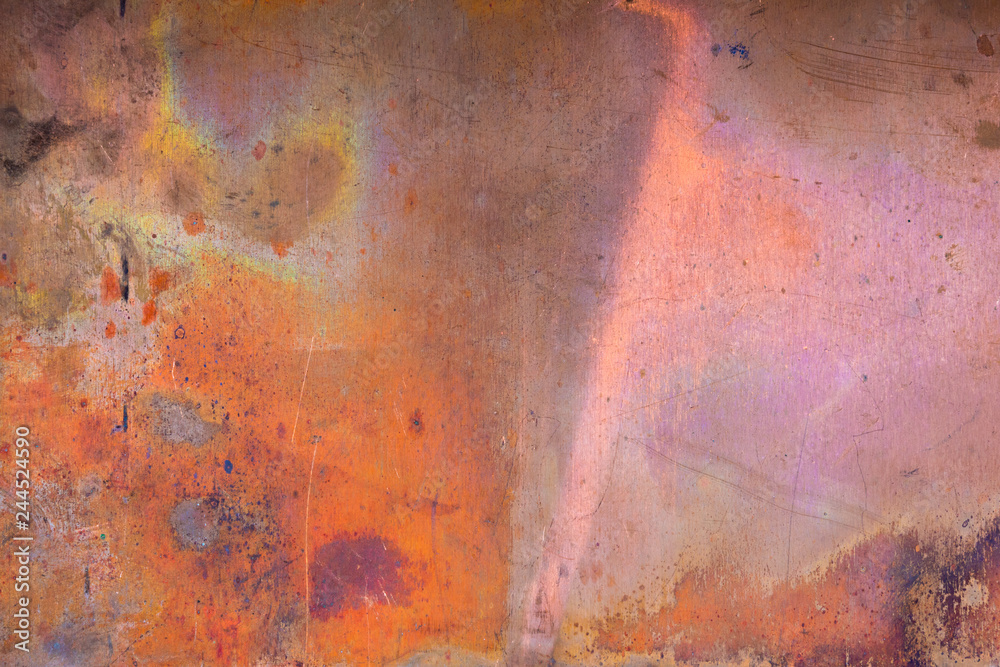 Fototapety, obrazy: Grunge copper background with colored stains of chemical compounds