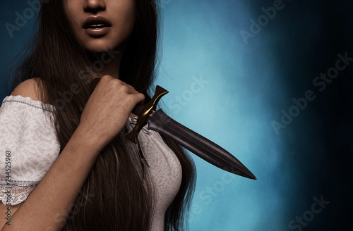 Sister of horror,woman with dagger,3d rendering Canvas