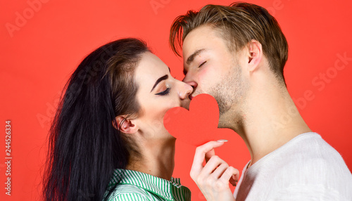 Man and woman romantic kiss  Love and foreplay  Romantic