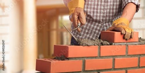 Papel de parede Masonry build bricklayer construction handyman layer trowel