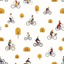 Seamless Pattern With People Riding Bikes In Autumn Park With Trees. Backdrop With Men And Women On Bicycles. Vector Illustration In Flat Cartoon Style For Wrapping Paper, Fabric Print, Wallpaper.