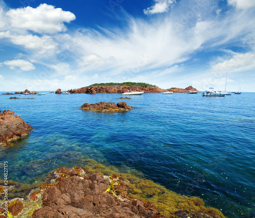blue sea and clouds