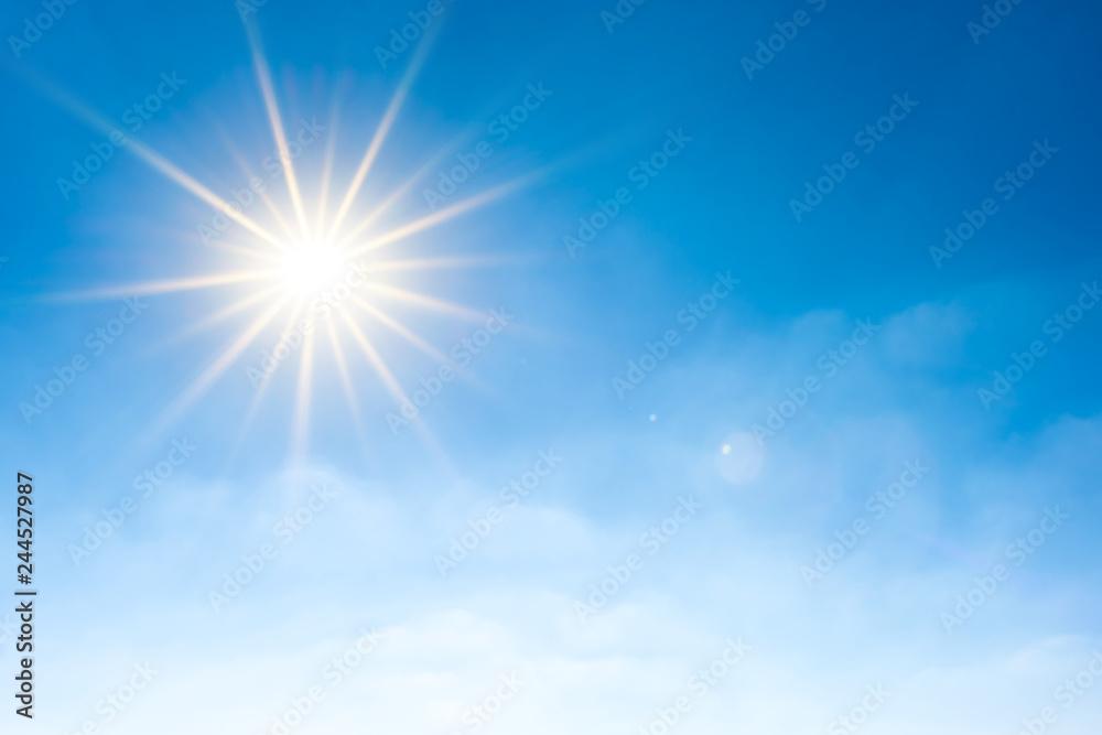 Fototapety, obrazy: Summer background, wonderful blue sky with bright sun