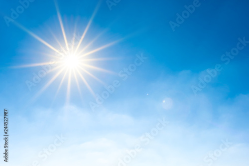 Obraz Summer background, wonderful blue sky with bright sun - fototapety do salonu