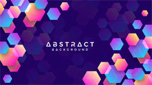 Geometric Abstract Hexagon Background With Blue, Purple, Pink And Orange. Eps10 Vector Background.