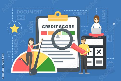 Fotografia Credit score concept. Document with personal credit history