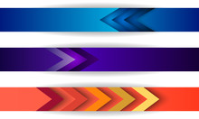 Set Of Site Abstract Header Blue, Purple And Pink Colors With Arrows