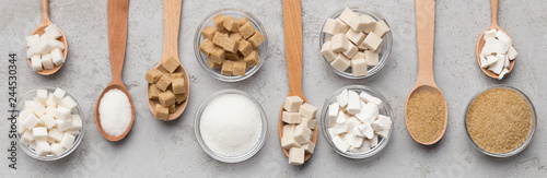 Fotografia, Obraz Collection of different kinds of sugar on gray background