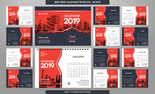 Desk Calendar 2019 Template - 12 Months Included - A5 Size