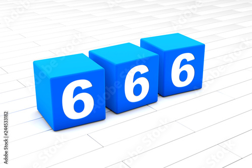 фотография  3D rendered illustration of the symbolic number 666 made of cubes