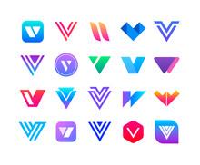 Letters V - Logo Set. 20 Logos