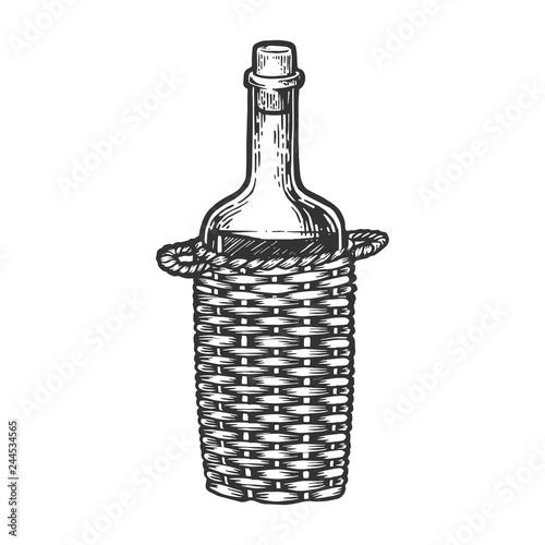 Wine bottle carboy with Basket weaving engraving vector illustration Canvas-taulu