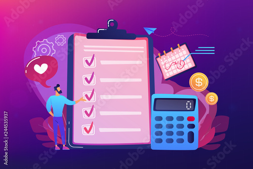Fototapeta Financial analyst planning at checklist on clipboard, calculator and calendar. Budget planning, balanced budget, company budget management concept. Bright vibrant violet vector isolated illustration obraz