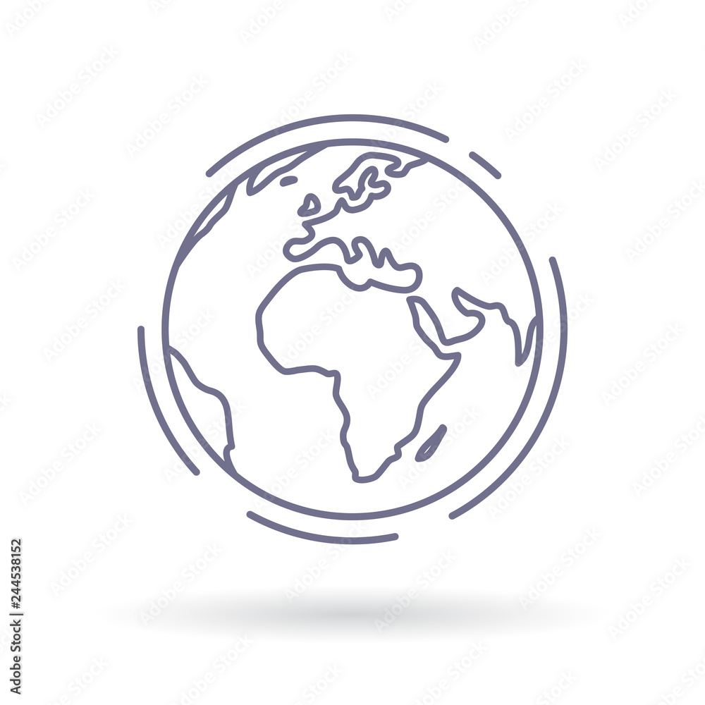 Fototapety, obrazy: Globe icon. Earth sign. World symbol. Simple thin line icon on white background. Vector illustration.