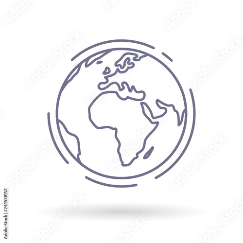 Globe icon. Earth sign. World symbol. Simple thin line icon on white background. Vector illustration. Wall mural