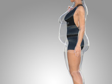 Conceptual Fat Overweight Obese Female Vs Slim Fit Healthy Body After Weight Loss Or Diet With Muscles Thin Young Woman On Gray. A Fitness, Nutrition Or Fatness Obesity, Health Shape 3D Illustration