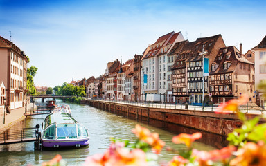 Cityscape of Strasbourg and Ill river in spring