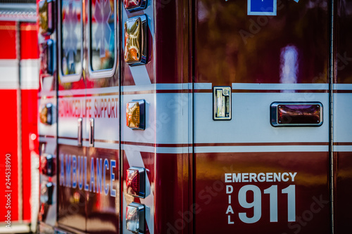 Photo Ambulance standing by at the fire station waiting for a call