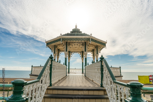 Brighton Pier Beach with Victorian bandstand octagonal pavilion Chinese and Indian style in the background at Brighton Sussex, UK Canvas Print