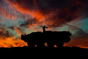 American interim armored vehicle silhouette / 3d illustration