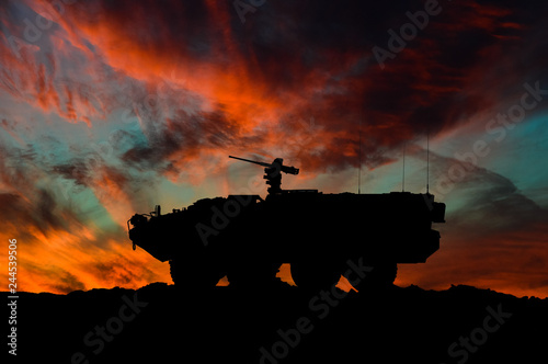Fotografía  American interim armored vehicle silhouette / 3d illustration