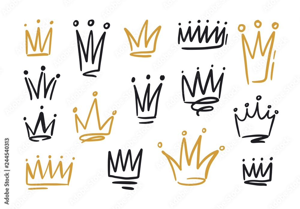 Fototapeta Bundle of drawings of crowns or coronets for king or queen. Symbols of monarchy, sovereign authority and power hand drawn with black and golden contour lines on white background. Vector illustration.
