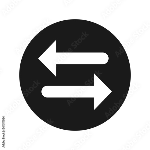 Transfer arrow icon flat black round button vector illustration Canvas-taulu