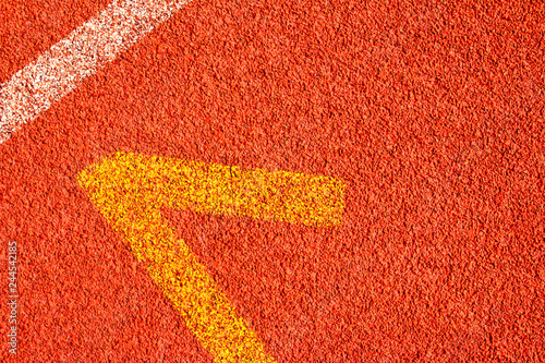 Deurstickers Rood Red running track Synthetic rubber on the athletic stadium.