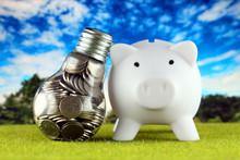 Coins Inside The Light Bulb An...