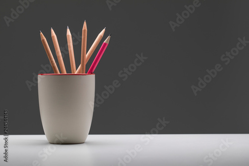 Fotografie, Obraz  Pink pencil in cup standout from wooden pencil