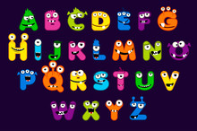 Cartoon Alphabet Font, MONSTER Style. Stock Vector Typeface For Your Design And UI Game, Funny Monster Letter Set